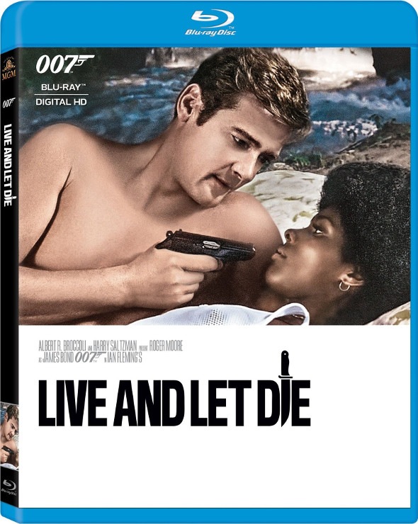 Roger Moore as James Bond and Gloria Hendry as Rosie Carver on the cover of the Live and Let Die Blu-ray