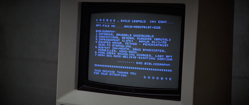 James Bond and Q look up Emile Locque's info in For Your Eyes Only (1981)