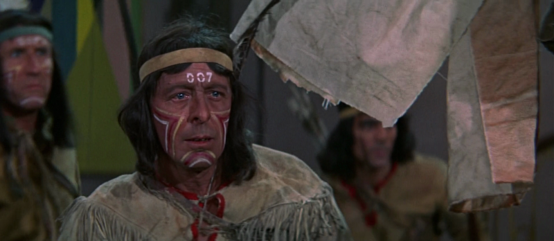 A Native American with 007 painted on his forehead in Casino Royale (1967)