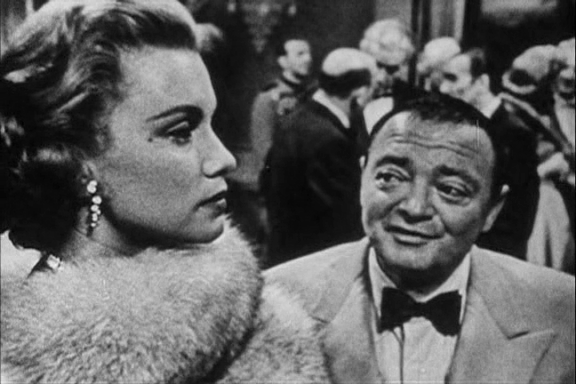 Linda Christian as Valerie Mathis and Peter Lorre as Le Chiffre in Casino Royale (TV - 1954)