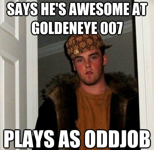 Scumbag Steve plays Goldeneye 007 on the Nintendo 64