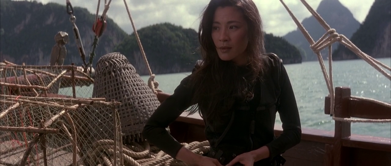 "Michelle Yeoh as Wai Lin in Tomorrow Never Dies (1997), with Khao Phing Kan, Thailand ""James Bond Island"" in the background"