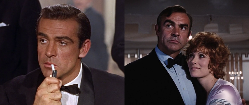 Sean Connery as James Bond at the beginning of Dr. No (1962) and Sean Connery as James Bond and Jill St. John as Tiffany Case at the end of Diamonds Are Forever (1971)