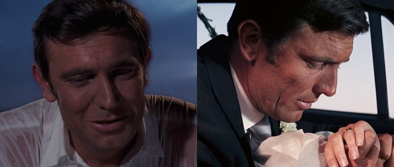 George Lazenby at the beginning of On Her Majesty's Secret Service (1969), and at the end of the movie - his only outing as 007