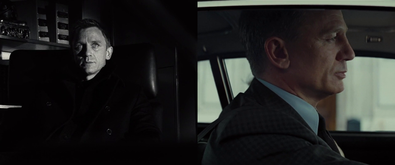 Daniel Craig as James Bond at the beginning of Casino Royale (2006) and at the end of Spectre (2015)