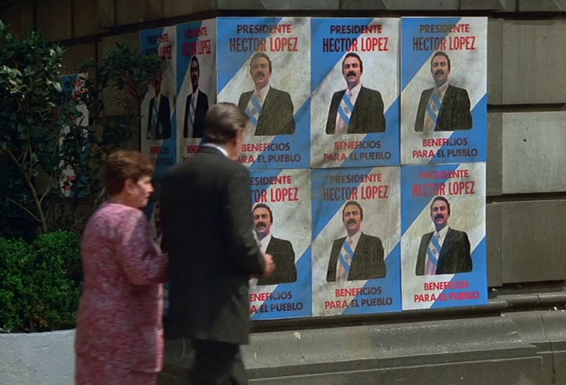 Hector Lopez for President signs in Licence To Kill (1989)