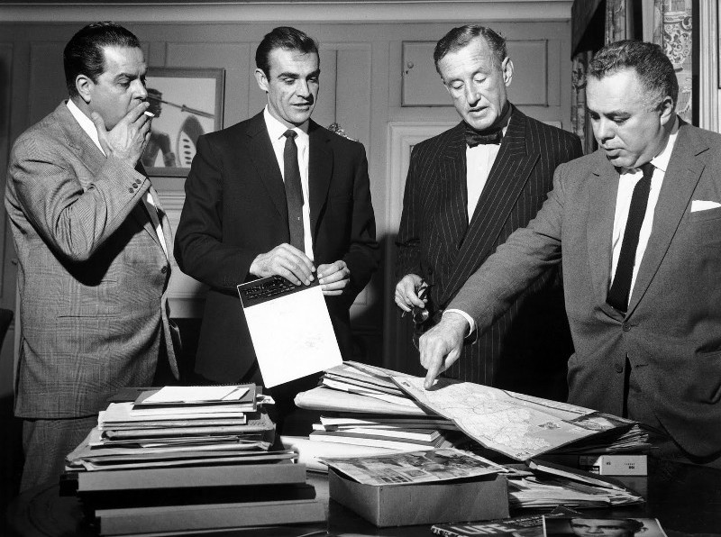James Bond gets to the big screen - from left to right: longtime producer Albert R. 'Cubby' Broccoli, the first James Bond actor Sean Connery, writer and James Bond character creator Ian Fleming and producer Harry Saltzman