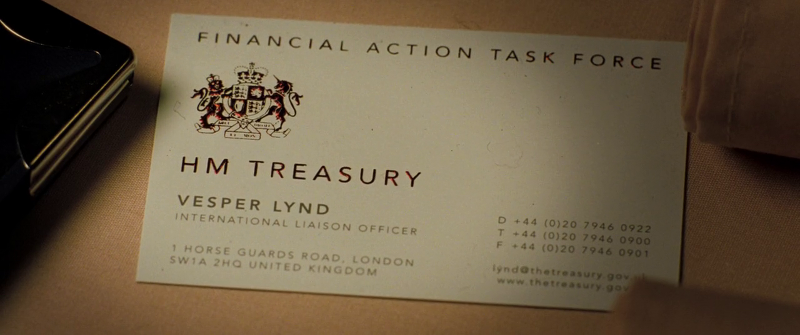 Vesper Lynd's business card in Casino Royale (2006)
