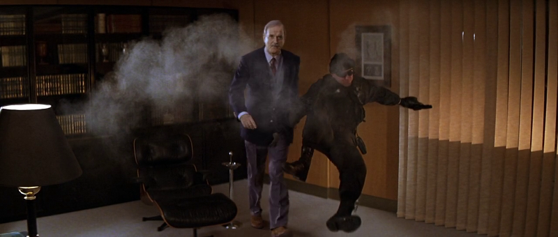 John Cleese as Q breaking up 007's virtual training exercise in Die Another Day (2002)