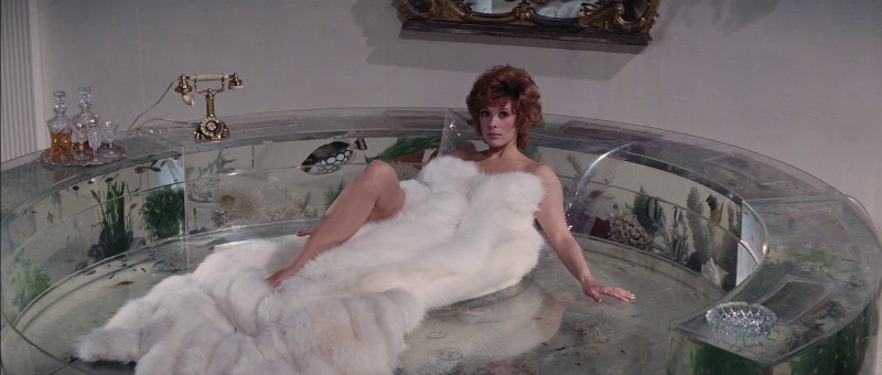 Jill St. John as Tiffany Case on the aquarium bed in Diamonds Are Forever (1971)