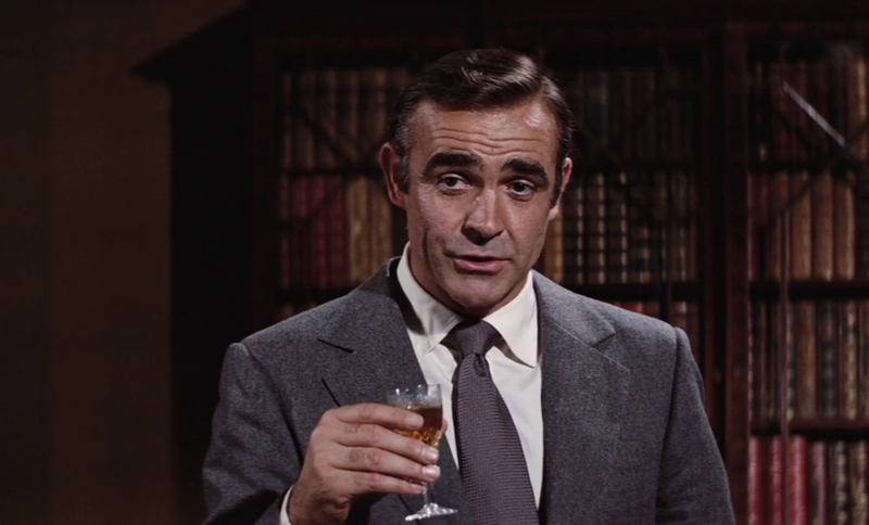 James Bond (Sean Connery) drinks some sherry in a break from 007 tradition in Diamonds Are Forever (1971)