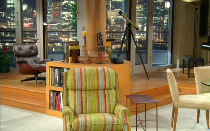 Frasier's Seattle apartment, with the Eames Lounge Chair in the background