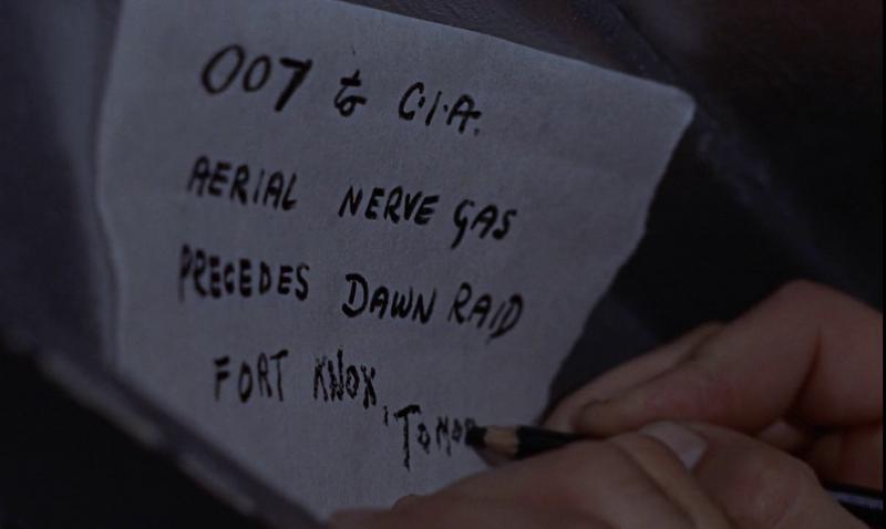 James Bond's handwriting outlining Goldfinger's sinister plan in Goldfinger (1964)