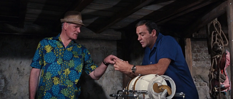 Desmond Llewelyn as Q, his loud shirt as a fashion statement and Sean Connery as James Bond in Thunderball (1965)