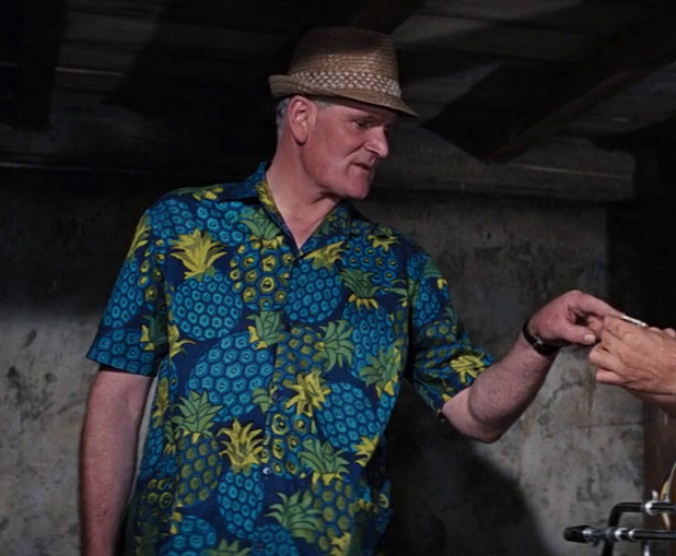 Q and his awesome pineapple Hawaiian shirt from Thunderball (1965)