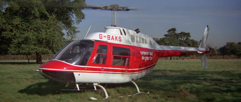 Universal Exports is prominently displayed as the logo on the helicopter that picks Bond up in the notable pre-title sequence of the movie
