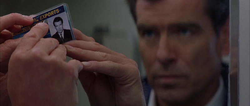 Bond uses his picture from his Universal Exports ID to replace his fake ID at a Russian nuclear facility