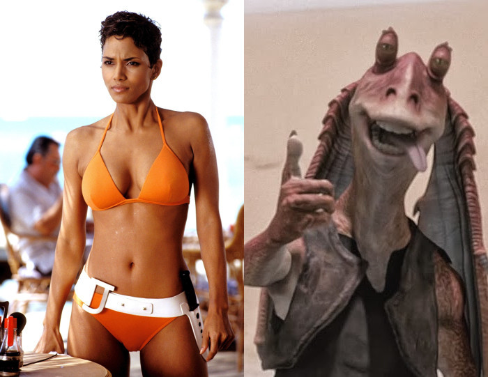 Halle Berry as Jinx in Die Another Day (2002) and Jar Jar Binks in Star Wars: Episode I - The Phantom Menace (1999)