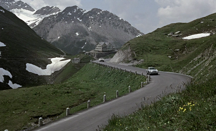 James Bond tracks Goldfinger through three countries in Goldfinger (1964)