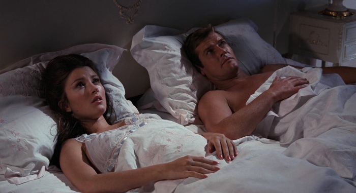 Solitaire (Jane Seymour) regrets her first time with James Bond (Roger Moore) in Live and Let Die (1973)