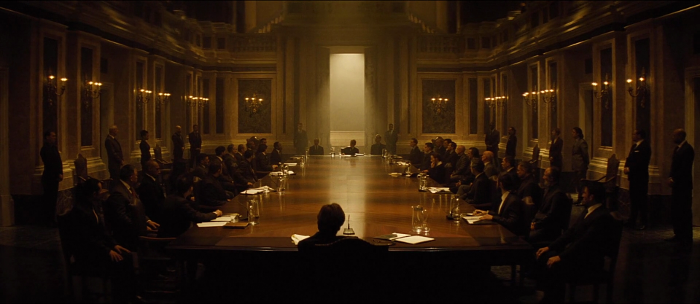 A highlight from Spectre (2015) didn't involve explosions or a chase, but was the mysterious Spectre meeting.