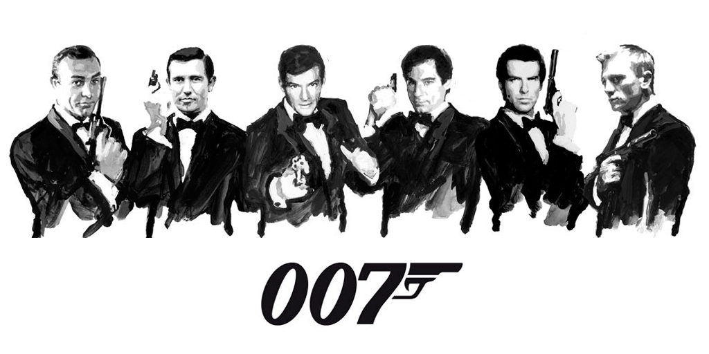 Sean Connery, George Lazenby, Roger Moore, Timothy Dalton, Pierce Brosnan and Daniel Craig as James Bond, 007