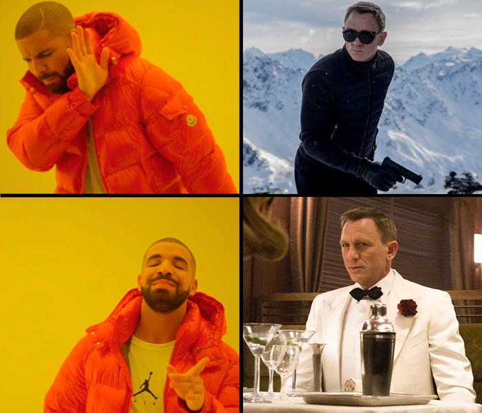 Drake disapproves of Daniel Craig's goggles in Spectre (2015), but approves of his white tuxedo