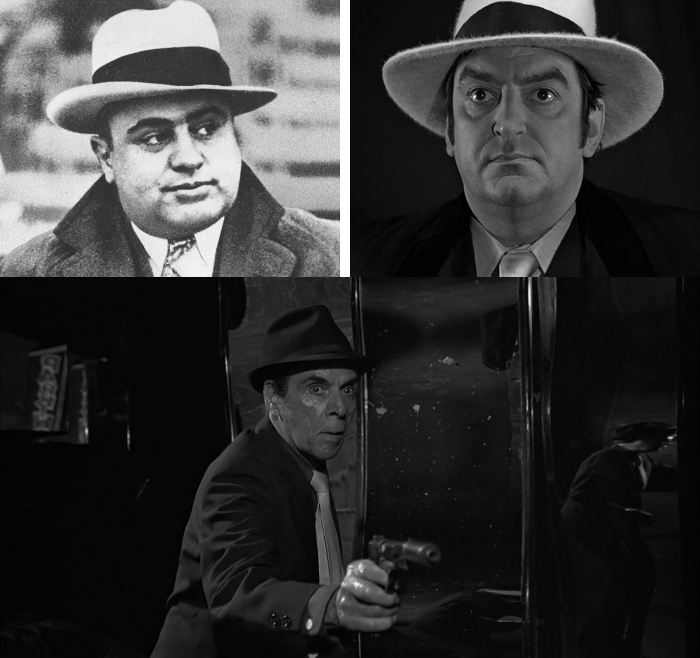 Gangster Rodney (Marc Lawrence - bottom) regrets shooting Al Capone (top left), or at least his likeness (top right) played by Ray Marioni in the opening sequence of The Man With The Golden Gun (1974)