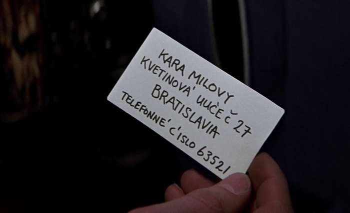 Kara Milovy's contact information from her cello case in The Living Daylights (1987)