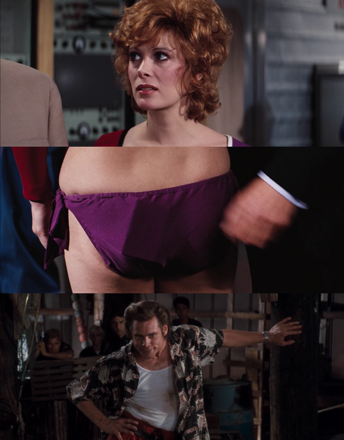 In Diamonds Are Forever (1971), Tiffany Case (Jill St. John) shows off the tape of the World's Greatest Marches in her bathing suit, while Ace Ventura rests his case.