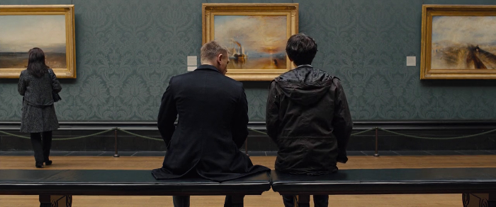 James Bond (Daniel Craig) and Q (Ben Whishaw) meet at the National Gallery in London in front of painting The Fighting Temeraire tugged to her last berth to be broken up, 1838, an oil painting by the English artist Joseph Mallord William Turner in Skyfall (2012)