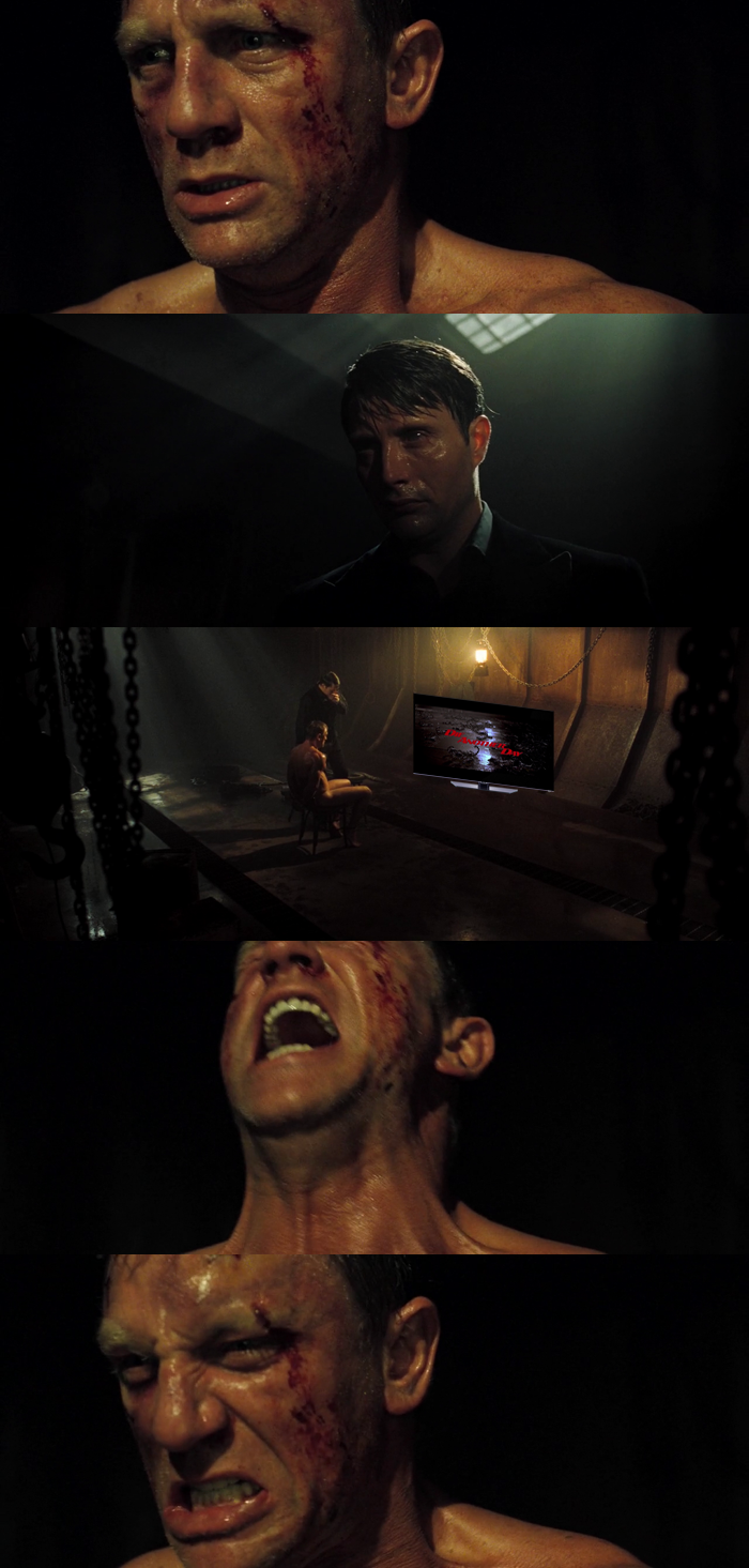 Le Chiffre (Mads Mikkelsen) tortures James Bond (Daniel Craig) by making him watch Die Another Day (2002)