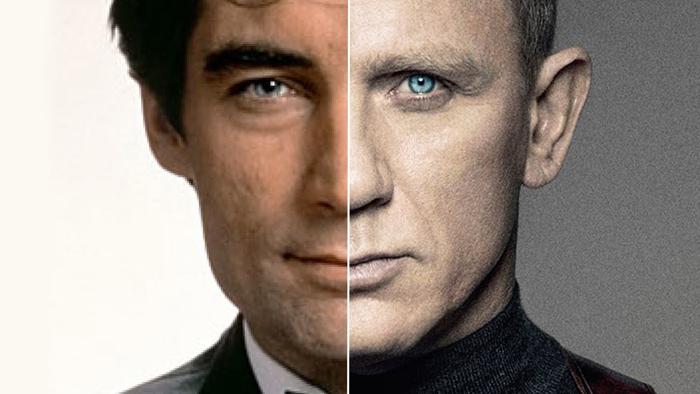Timothy Dalton and Daniel Craig side by side as James Bond