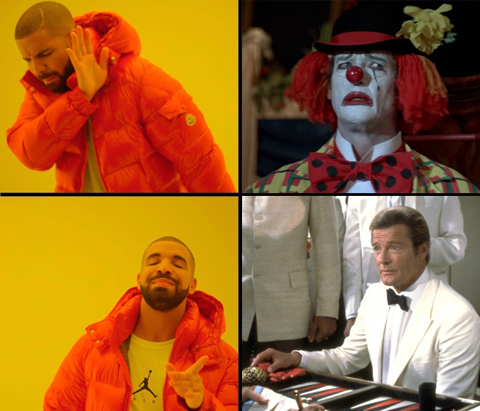 Drake disapproves of Roger Moore's clown suit in Octopussy (1983), but approves of his white tuxedo