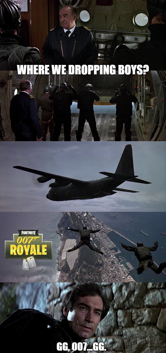 The opening sequence of The Living Daylights closely resembled some of your current favorite Battle Royale video games, including PUBG and Fortnite