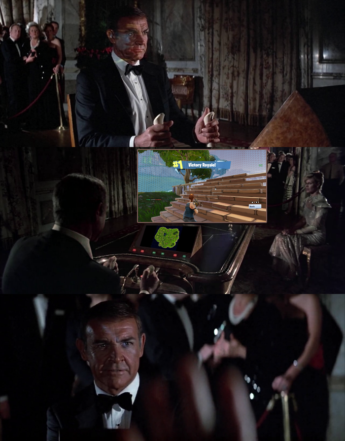 In an alternate universe, James Bond (Sean Connery) in Never Say Never Again (1983) achieves a Victory Royale in Fortnite